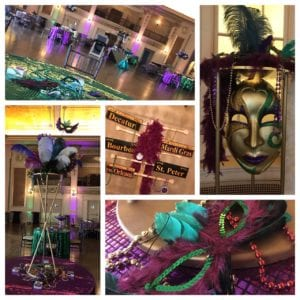 An over-the-top theme, complete with sequins, beads, masks and custom lighting