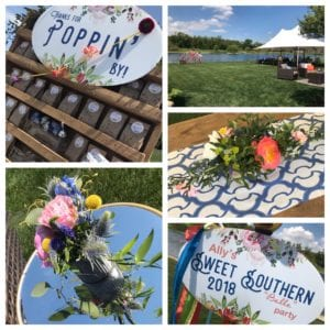 """Custom signage + photo booth at a tented lakeside party with bright florals and coordinating linens creating  the """"wow factor"""""""