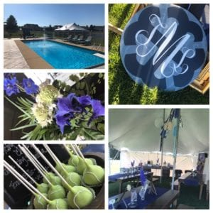 Tented back yard gathering with a custom monogram + coordinating blues throughout