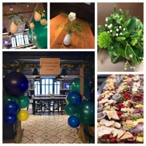 Balloons + custom signage + simple and pretty fresh florals in an elegant space